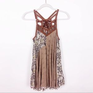 Free People Tan Caged Medallion Beaded Dress XS